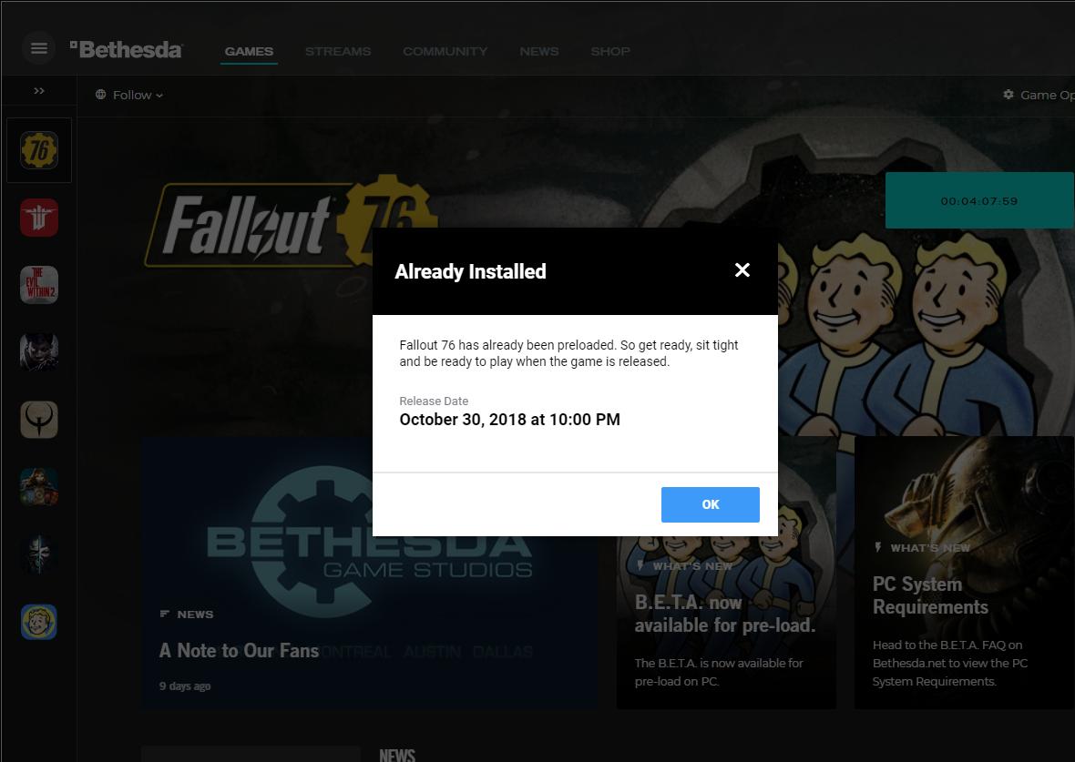 Bethesda Launcher - Fallout 76 PC Beta Launch Time