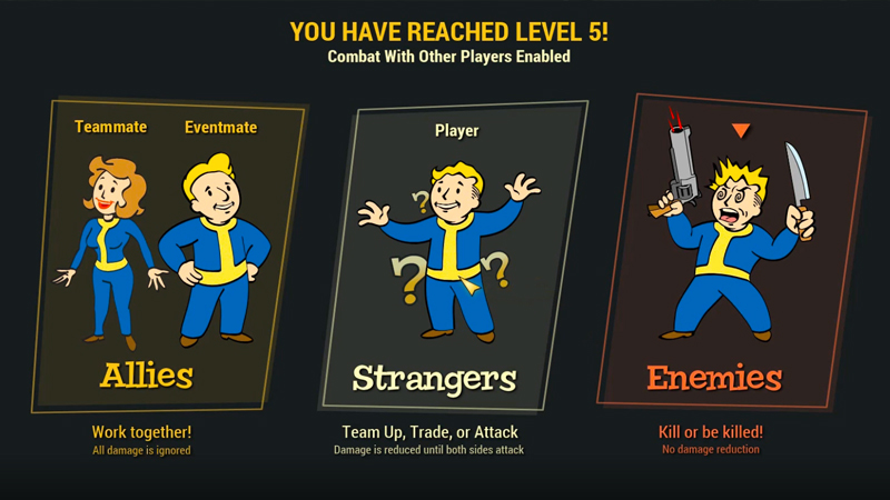 Fallout 76 - PvP - Level 5 Allies, Strangers & Enemies PvP Rules